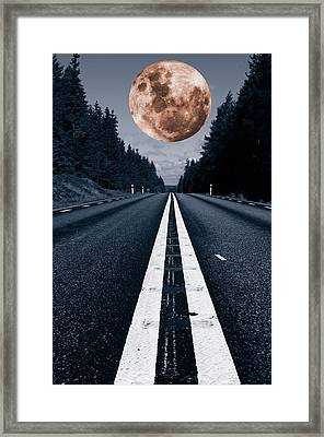Lonely Road And Full Moon Framed Print
