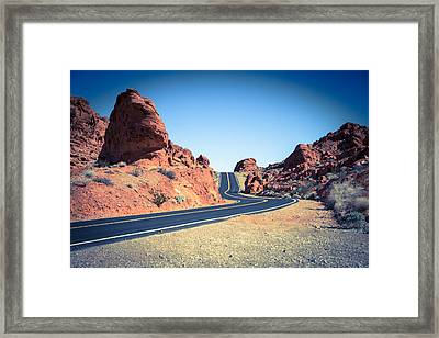 Lonely Southwestern Road Framed Print by Laura Palmer