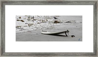 Lonely Surfboard Lg Framed Print by Chris Thomas
