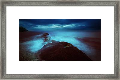 Framed Print featuring the photograph Lonely Twilight Tide by Afrison Ma