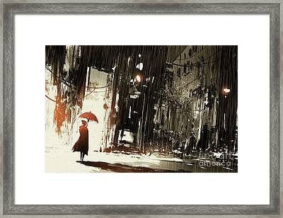 Lonely Woman With Umbrella In Abandoned Framed Print