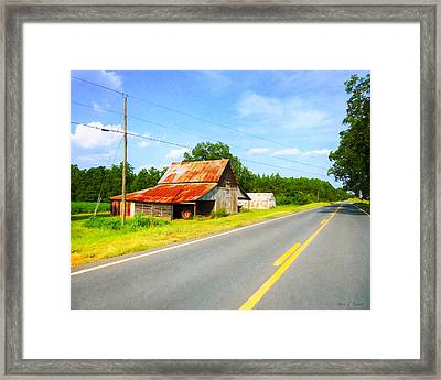 Lonesome Country Roads In The South Framed Print by Mark E Tisdale