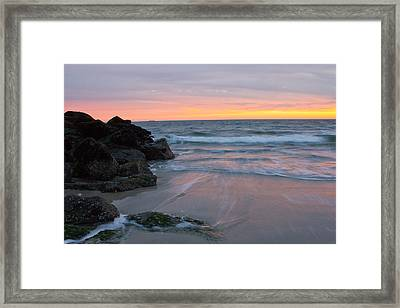 Framed Print featuring the photograph Long Beach By The Rocks by Jose Oquendo