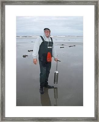 Long Beach Clam Digger Framed Print by James Tweedie