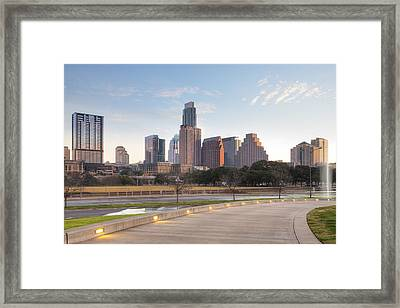 Long Center View Of Downtown Austin Texas Framed Print by Rob Greebon