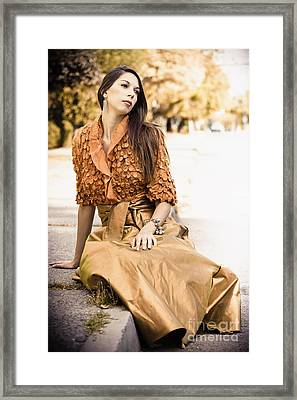 Long Dark Haired Brunette Woman With Brown Eyes Sitting On Pavement With Formal Dress On Framed Print by Joe Fox