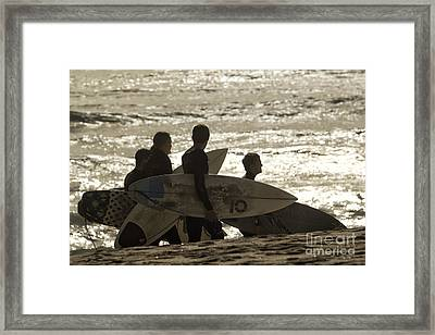Long Day Of Surfing Framed Print by Christopher Purcell