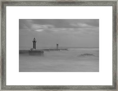Long Exposure In Oporto In Bad Weather Framed Print