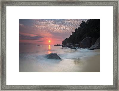 Long Exposure Of A Colorful Sunrise Framed Print by Alex Saberi