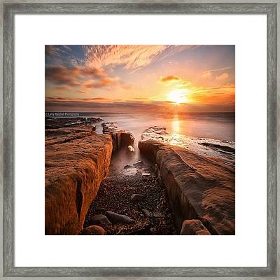 Long Exposure Sunset At A Rocky Reef In Framed Print