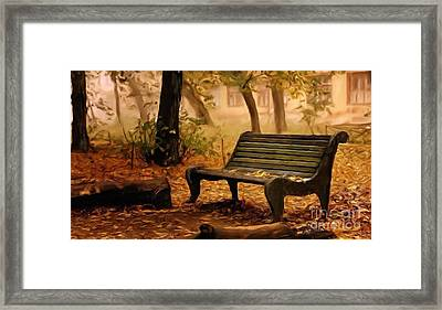Long Forgotten Lovers Bench  Framed Print by Heinz G Mielke