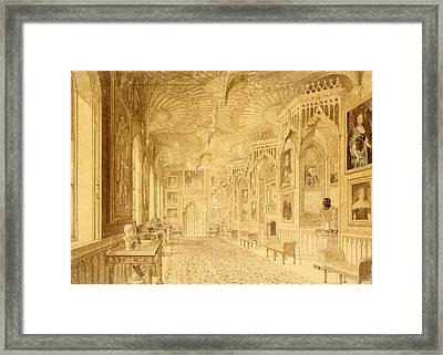 Long Gallery At Strawberry Hill Framed Print by Thomas Sandby
