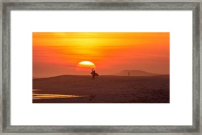 Long Island Surfer Framed Print by June Jacobsen
