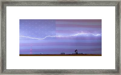 Long Lightning Bolt Across American Oil Well Country Sky Framed Print by James BO  Insogna