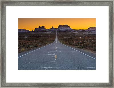 Long Road To Monument Valley Framed Print by Larry Marshall