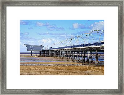 Long Seaside Pier At Southport - England Framed Print by David Hill