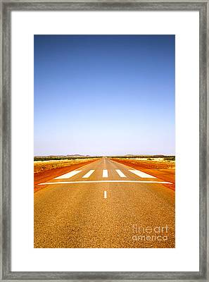 Long Straight Road Marked Out As Emergency Runway Framed Print