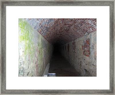 long tunnel in Ft Adams Framed Print by Catherine Gagne