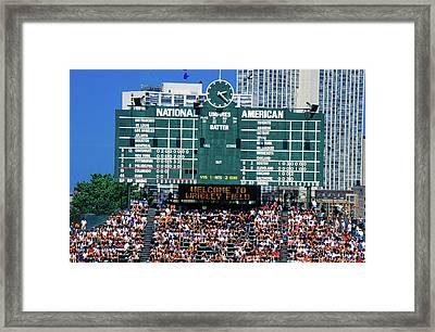 Long View Of Scoreboard And Full Framed Print
