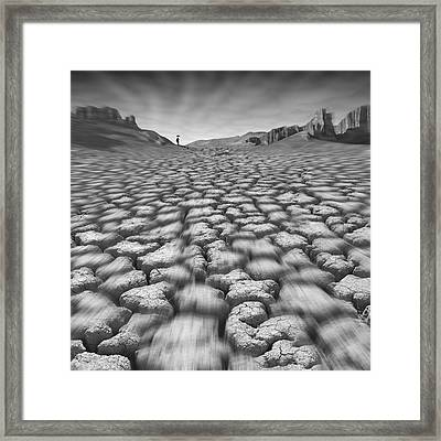 Long Walk On A Hot Day Framed Print by Mike McGlothlen