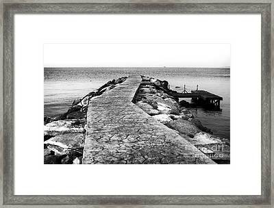 Long Walk To The Sea - Black And White Framed Print by John Rizzuto