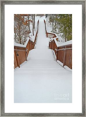 Long Way Down The Snow Covered Steps Framed Print by Eva Kaufman