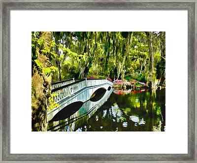 Long White Bridge Faux Painting Framed Print