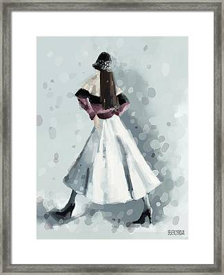 Long White Skirt And Black Sequined Hat Fashion Illustration Art Print Framed Print by Beverly Brown
