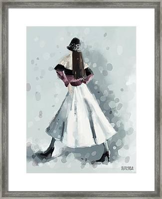Long White Skirt And Black Sequined Hat Fashion Illustration Art Print Framed Print