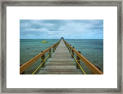 Long Wooden Pier, Coral Coast, Viti Framed Print by Michael Runkel