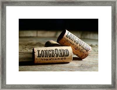 Longboard Corks Framed Print by Jon Neidert