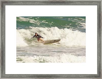 Longboard Lady Framed Print by Lynda Dawson-Youngclaus