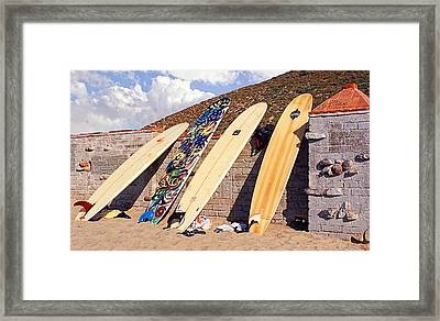 Longboard Lineup Framed Print by Ron Regalado