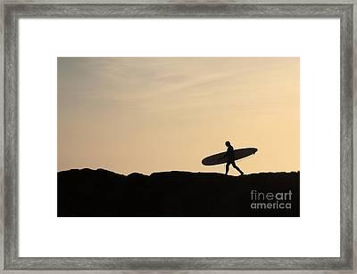 Longboarder Crossing Framed Print