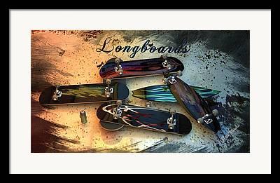 Longboard Digital Art Framed Prints
