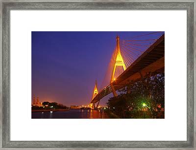 Longest Bridge In Bangkok Framed Print by Panitsak Kunwong