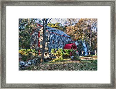 Longfellow's Wayside Inn Grist Mill In Autumn Framed Print by Jeff Folger