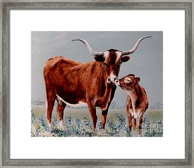 Framed Print featuring the painting Longhorn Cow And Calf by DiDi Higginbotham