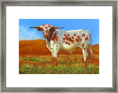 Framed Print featuring the painting Longhorn In The Australian Outback by Margaret Stockdale