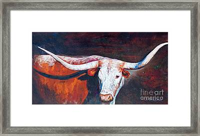 Framed Print featuring the painting Longhorn Legacy by Karen Kennedy Chatham