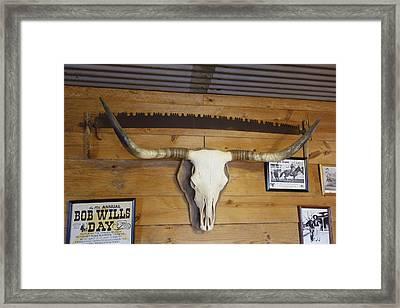 Longhorn Skull On Display Framed Print by Ann Powell