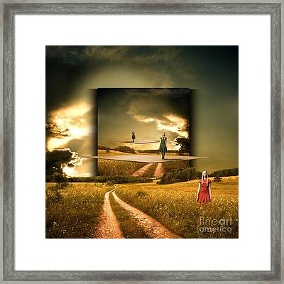 Longing Waiting For The Love With My Red Dress Framed Print