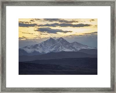 Longs Peak 3 Framed Print by Aaron Spong