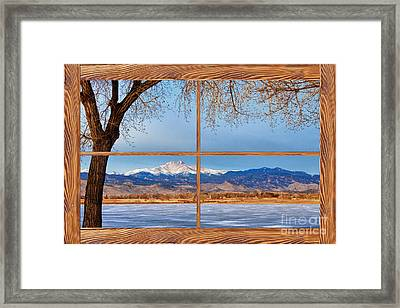 Longs Peak Across The Lake Barn Wood Picture Window Frame View Framed Print by James BO  Insogna