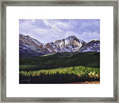 Longs Peak Glowing Framed Print