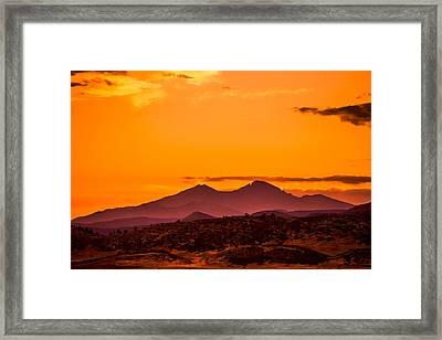 Longs Peak Smoke And Sunset Framed Print by Rebecca Adams