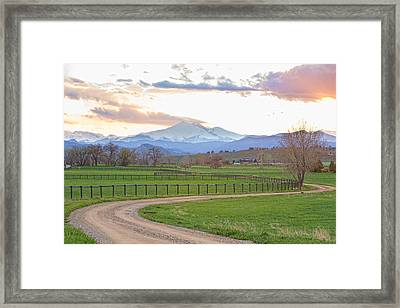 Longs Peak Springtime Sunset View  Framed Print by James BO  Insogna