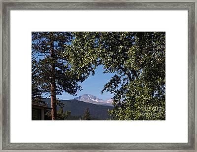 Longs Peak Through The Trees Framed Print by Kay Pickens