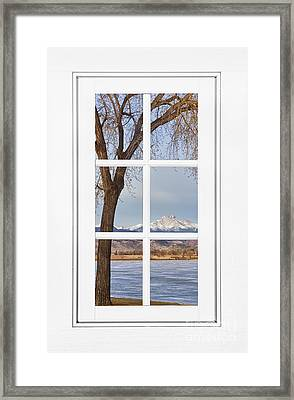 Longs Peak Winter View Through A White Window Frame Framed Print