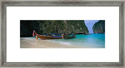 Longtail Boats Moored On The Beach, Ton Framed Print by Panoramic Images